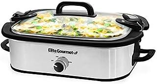 Elite Gourmet MST-5240SS Crock Slow Cooker, Locking Lid Adjustable Temperature Keep Warm Oven & Dishwasher-Safe Casserole Pan, 3.5Qt Capacity, Stainless Steel