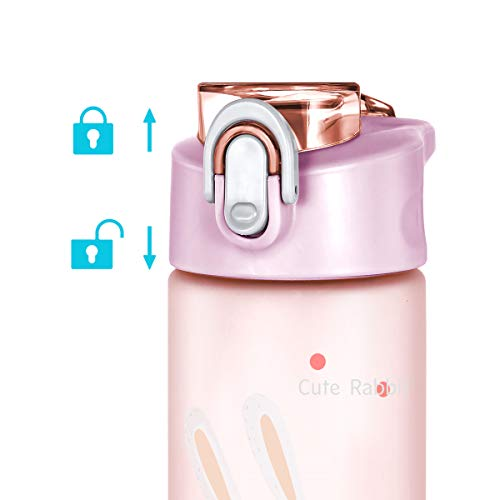 HZLIEIY Kids Water Bottle, 550ml Leak Proof Sports Water Bottle with Straw, Reusable Cute Small Drink Bottles for Boys Girls, BPA-Free, Tritan Plastic (Pink)