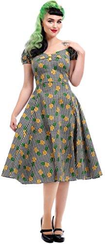 Collectif Damen Kleid Dolores Pineapple Gingham Swing Dress Mehrfarbig 2XL