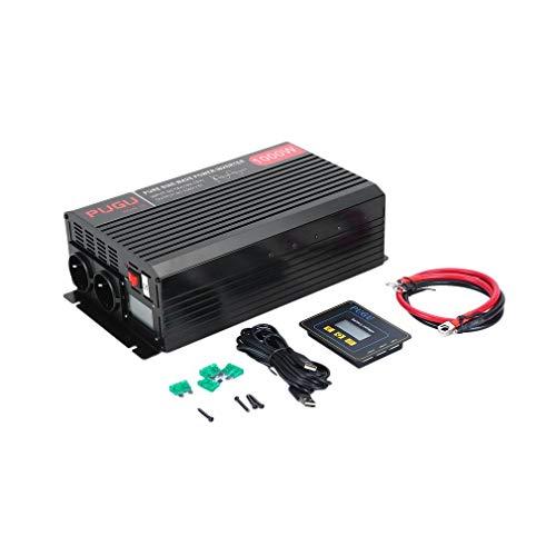 ROXTAK 1500W/3000W 12V auf 230V Reiner Sinus kfz Spannungswandler Wechselrichter Konverter Pure Sine Wave Power Solar Inverter DC AC Umwandler Stromwandler mit 2 Steckdose und USB-Port inkl. LCD