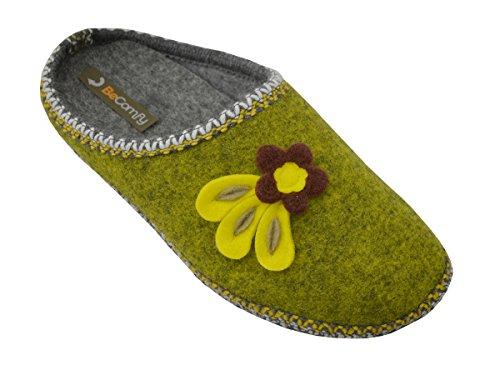 BeComfy Filzpantoffeln Hausschuhe aus Filz mit Anti-Rutsch-Sohle Filzlatschen Unisex Damen Herren Grau Geschenkkarton (Wahlweise) Modell FU01 (36 EU, Damen Grün mit Blume)