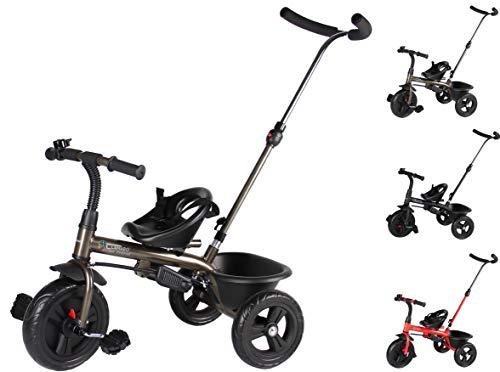 Clamaro \'Buttler Basic\' 2in1 Kinderwagen Dreirad ab 1 Jahr mit lenkbarer Schubstange, mit flüsterleisen Gummireifen, Vor- und Rücklauf, Kinderdreirad für Jungen und Mädchen - Bronze