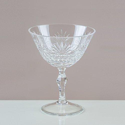 Inconnu Victoria Cristal Rhipidure coupes de champagne/soucoupes 24% Cut Cristal au plomb 100% fait main (lot de 6)
