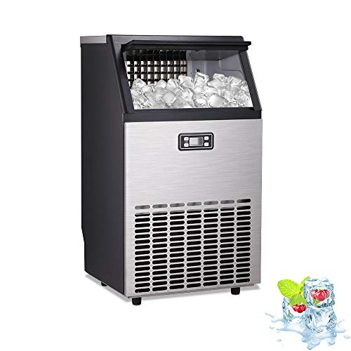 Kismile Commercial Ice Maker Machine, Automatic Water inlet Stainless Steel Ice Machine Makes 100 LBS /24 H with 33 Pounds Storage Capacity,Ideal for Restaurants,Bars,Home and Office