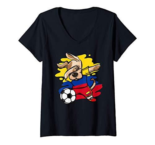 Mujer Divertido Dabbing Perro Fútbol de Colombia - Bandera Deporte Camiseta Cuello V