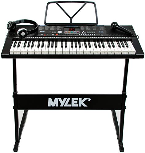 Mylek 61 Key Portable Electronic Musical Teaching Piano Music Keyboard, Stand, Headphones, Microphone, 300 Timbres 300 Rhythms, 30 Demo Songs, 3 Teaching modes