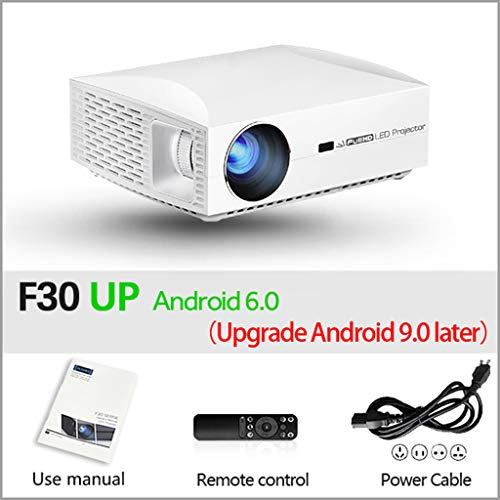 Cajolg Mini draagbare projector 1920 x 1080P Android 6.0 (2G + 16G) wifi-lens met glascoating, Full HD videoprojector