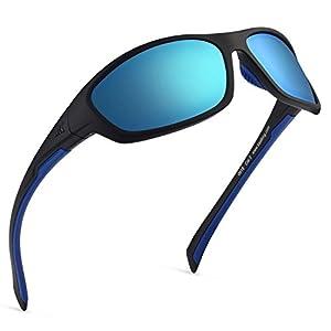 KastKing Hiwassee Polarized Sport Sunglasses for Men and Women, Matte Blackout Frame,Smoke Base Ice Mirror