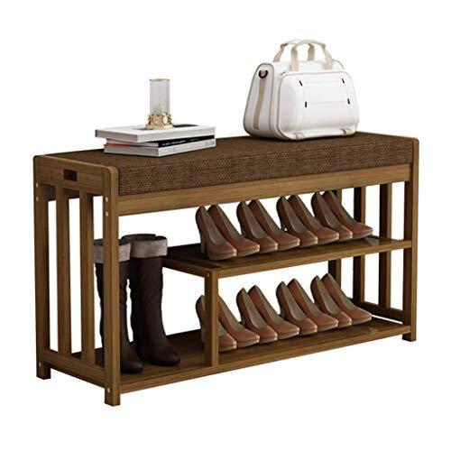 El almacenamiento en zapatero es simple y práctico Talleres de zapatos Rack de zapatos 2 niveles Natural Bambú Zapato Banco Organizador Banco con cojín tapizado perfecto Banco de banco de asiento de a