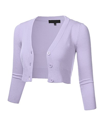 FLORIA Women Solid Button Down 3/4 Sleeve Cropped Bolero Cardigan Sweater Lilac L