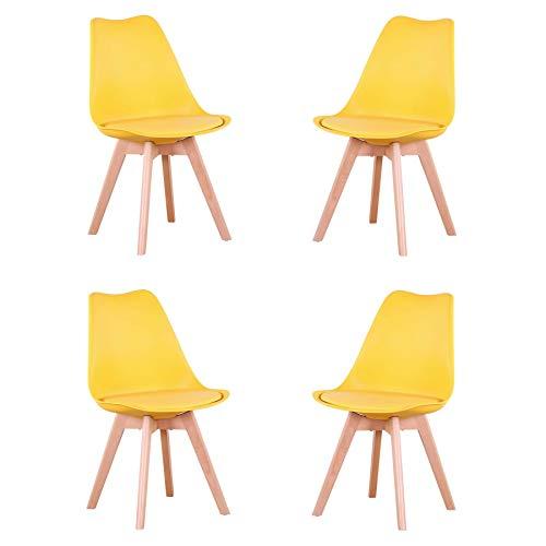 4er Set Stühle, Esszimmerstuhl, Stuhl im nordischen Stil, geeignet für Wohnzimmer, Esszimmer(Weiß) (Gelb-4er Set)