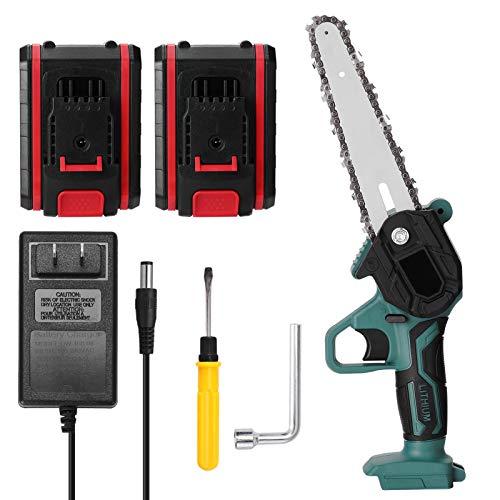 Romacci Mini serra de poda elétrica portátil de duas baterias de 21V Mini serra elétrica recarregável de divisão de madeira pequena ferramenta de marcenaria com uma mão para jardim clipe de galho de pomar