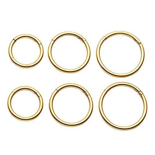 PiercingJ 6-8pcs 16G Stainless Steel Clip on Closure Round Ring Tragus Cartilage Nose Hoop Earring Hoop Septum Piercing 6-10mm