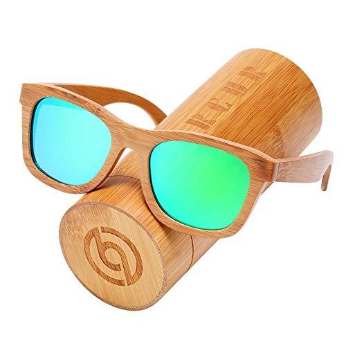 IN THE DISTANCE Gafas De Sol Retro For Hombres Gafas De Sol Polarizadas Gafas De Sol De Madera Hechas A Mano De Bambú Gafas De Sol De Playa Gafas De Sol (Lenses Color : Green Bamboo Box)
