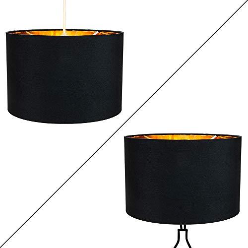 Modern svart bomull 10 bords- / hänge lampskärm med glänsande gyllene inre