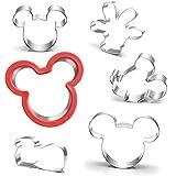 UKoosien Lot de 6 emporte-pièces Mickey Mouse en forme de tête de Mickey, de main, de pied et de souris pour enfants
