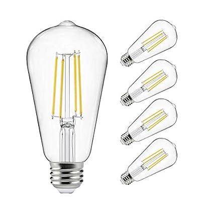 Vintage LED Edison Bulbs 60 Watt Equivalent, Eye Protection Led Bulb with 95+ CRI, Non-Dimmable, High Brightness Daylight White 4000K, ST58 Antique LED Filament Bulbs, E26 Medium Base, Pack of 4