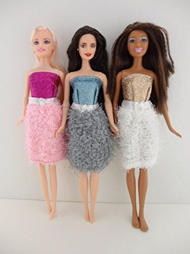 Set of 3 Cocktail Dresses with Fuzzy Skirts Made to Fit Barbie Doll