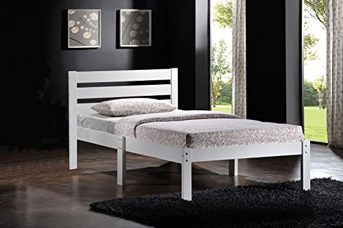 HomeRoots Twin Bed, White - Poplar Wood, Laminated Ve White