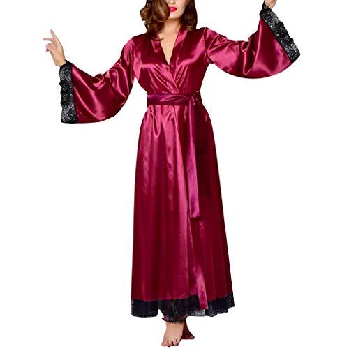 Fenverk Kimono Damen Morgenmantel Maxi Lang Seide Satin Kleid Bademantel Lange Robe Schlafmantel Girl Pajama Party Kurz Bademantel V Ausschnitt Roben Mit Blumenspitze (Wein,XXL)