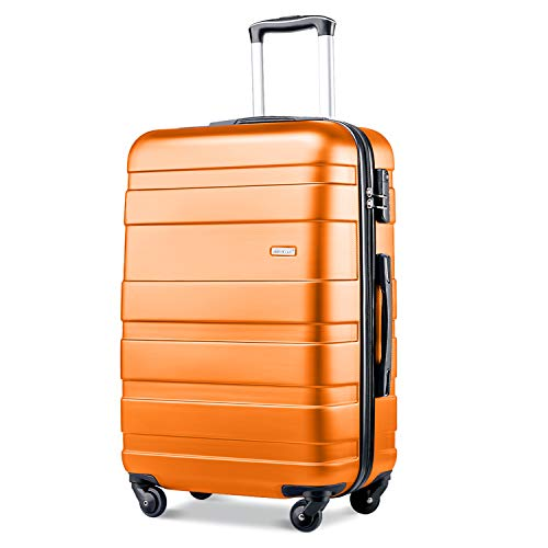 Merax Lightweight Luggage Hard Shell 4 Wheels Travel Trolley Suitcase Holdall Cabin Case (M, Orange)
