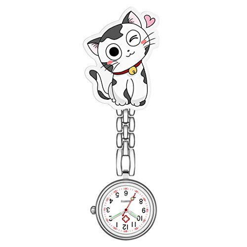 xinxinchaoshi Reloj de Bolsillo Reloj de Bolsillo en el Pecho Enfermera del Gato Reloj de Pulsera...