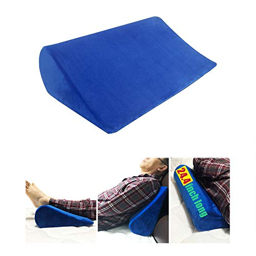 Wedge Pillow for Side Sleeping Positioning Body Wedge Bed Foam Positioner Back Pain Support Incline Triangle Acid Reflux Sleeper Adults After Surgery Bed Sore Cushion 24.4''×14.6''×5.9'' (Blue)