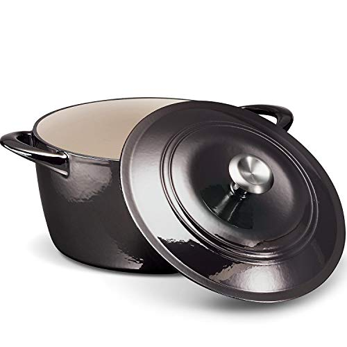 Tramontina Enameled Cast Iron 7-Qt. Covered Round Dutch Oven - Gray