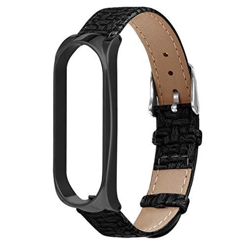 Sport Armband für Xiaomi Mi Band 4, Leder Armband Ersatz Uhrenarmbänder Damen Herren Fitness Uhrenarmband Verstellbarer Wristband Armbanduhr Lederarmband für Xiaomi Mi Band 4 (B)