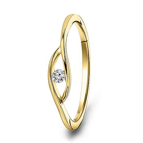 Miore Schmuck Damen 0.05 Ct Solitär Diamant Verlobungsring Ring aus Gelbgold 9 Karat / 375 Gold