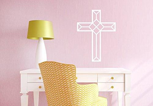 Adhesivo de pared con citas de vinilo, diseño de cruz de origami, decoración del hogar