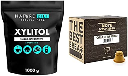 Nature Diet - Xilitol 1 kg + Note D'Espresso - Cápsulas de café compatibles con cafeteras Nespresso, Qualità Oro, 100 caps