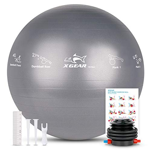 XGEAR Anti-Burst Exercise Ball for Yoga,Fitness,75cm,with Quite Foot Pump, Grey