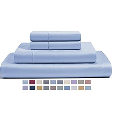 CHATEAU HOME COLLECTION 800-Thread-Count Egyptian Cotton Deep Pocket Sateen Weave Calking Sheet Set, Blue