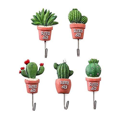 Lvcky - Colgador para pared con diseño de planta en maceta, con adhesivo y tornillos para decoración (5 unidades)