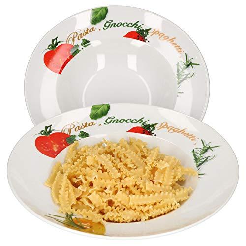 Van Well 2er Pastateller-Set Milano mit Aufdruck I Ø 27 cm I tiefer Porzellan-Teller I Gastro-Geschirr I Nudeln, Pasta I Gnocchi, Spaghetti, Fusilli, Makkaroni, Penne, Ravioli