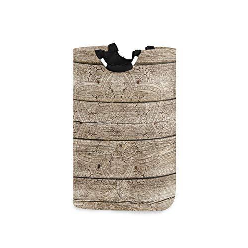 BEITUOLA Wäschesammler Wäschekorb Faltbarer Aufbewahrungskorb,Mandala Blumen auf rustikalem Holzbrett abstrakte Runde mit Blättern Elemente Land,Wäschesack - Wäschekörbe - Laundry Baskets