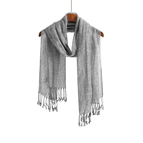 Jeelow Lightweight Summer Scarf Light Shawl Wrap Linen Feel Scarves For Men And Women (Grey Tone)
