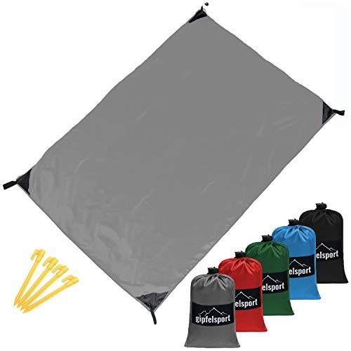 gipfelsport Picknickdecke - Outdoor Picknick Decke I Stranddecke, wasserdicht, waschbar, sandfrei I 200x140 cm groß I grau