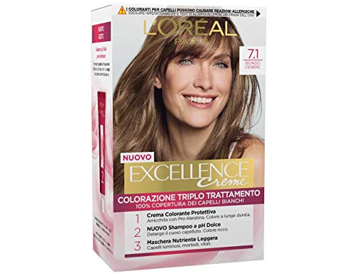 L'Oréal Paris Tinta Capelli Excellence, Copre i Capelli Bianchi, Colore Ricco, Luminoso e a Lunga Durata, 7.1 Biondo Cenere, Confezione da 1