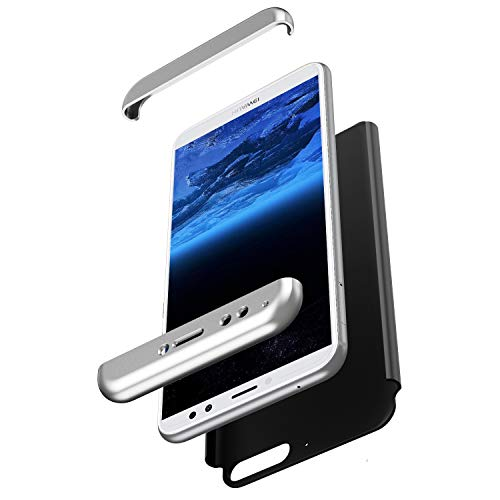 Coque Huawei Honor 7A Intégral 360 Degrés Full Body Coque + Verre trempé Film de Protection,PC Rigide Coque Hybride Robuste Coque 3 in 1 Exact Fit Avant et Arrière Etui Huawei Honor 7A,Argent,Noir