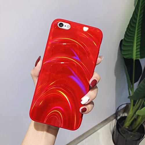 Urhause Hülle Kompatibel mit iPhone 6 Hülle Funkeln Glitzer Gelee Blendend Muster TPU Silikon Weiche Schutzhülle Handyhülle Bunt Bling Glitter Sparkle Case Hülle Bumper Stoßfestigkeit Handytasche Rot