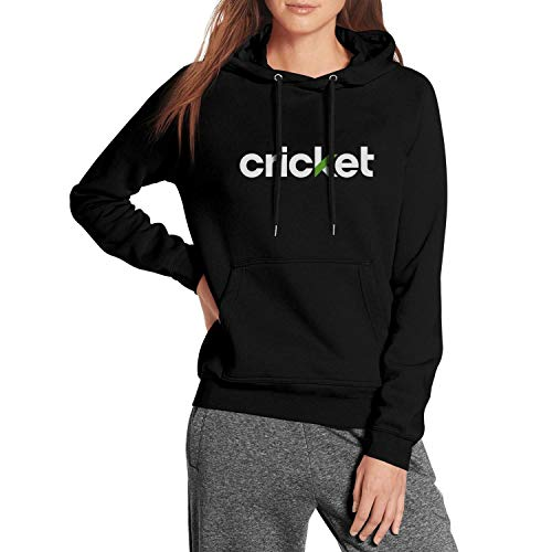 Cricket-Logo- Black Hoodie for Girls Kangaroo Pocket Long Sleeve Shirt Sweatshirt