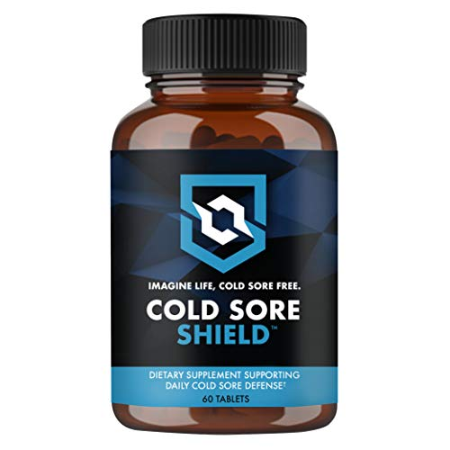 COLD SORE SHIELD Daily Cold Sore Defense / Prevention Supplement (60 Tablets) Immune Support Lip Blister & Cold Sore Treatment With Vitamin C and L Lysine - No More Surprise Breakouts!