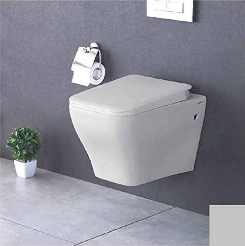 Element Rimless Design (Dimension - 21''X15''X14'') ONE Piece Wall Mounted Western Toilet Commode (White)