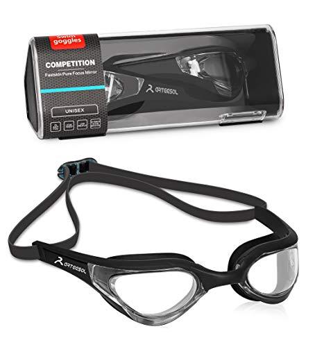 arteesol Schwimmbrille Herren Damen Adult Mirrored Schwimmbrille Herren No Leaking Anti Fog UV-Schutz Verstellbarer Gummiband mit Schwimmbrille etui Unisex für Männer Frauen