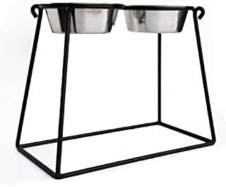 Pets Stop Pyramid Double Diner - Black - X-Large