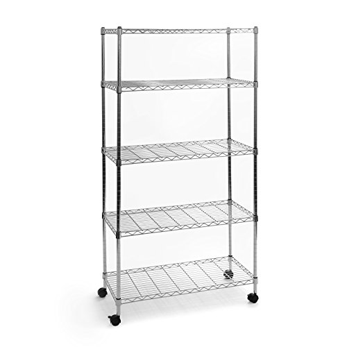 Seville Classics 5-Tier UltraZinc Steel Wire Shelving /w Wheels, 14
