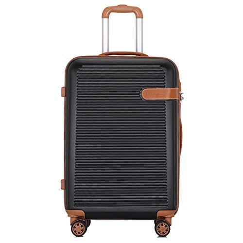 XIANGSHAN ABS + Pc Retro Trolley Case, Conveniente diseño Universal Wheel Trolley Case, Trolley Case for Hombres y Mujeres, 20, 24 Pulgadas (Color : Black, Size : 24inch)