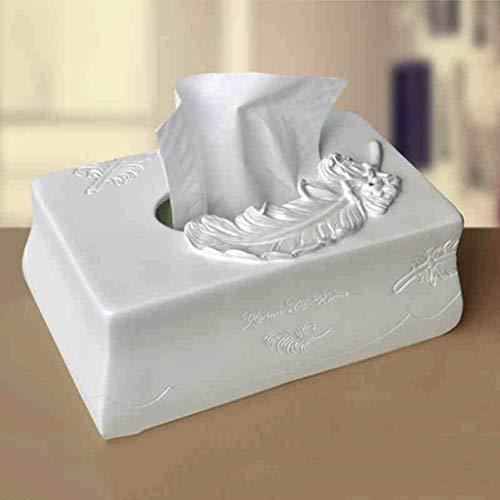 MUZIDP Caja de pañuelos para decoración de plumas de resina, caja de pañuelos creativa de moda europea, caja de papel de 23 x 14 x 10 cm (color B)